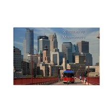 Skyline from Stone Arch Rectangle Magnet