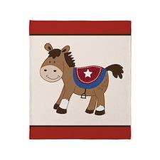 Round Em Up Western Horse Throw Blanket