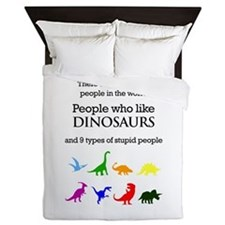 Ten Types Of People (dinosaurs) Queen Duvet