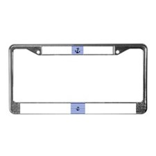 Black Anchor Of Blue Stripes License Plate Frame