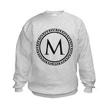 Greek Key Black and White Monogram Sweatshirt