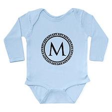 Greek Key Black and Wh Long Sleeve Infant Bodysuit
