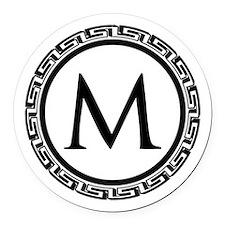 Greek Key Black and White Monogra Round Car Magnet