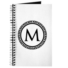 Greek Key Black and White Monogram Journal