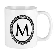 Greek Key Black and White Monogram Mug