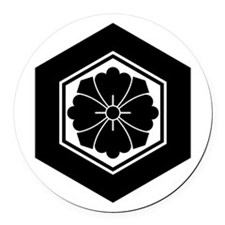 Square flower with Swords in tort Round Car Magnet