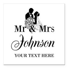 "Personalized Mr and Mrs Square Car Magnet 3"" x 3"""