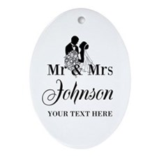 Personalized Mr And Mrs Wedding Ornament (oval)