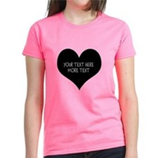 Black Heart And Pink T-Shirt For Women