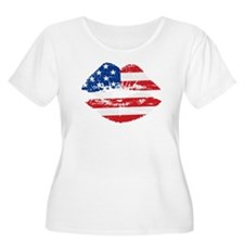American Flag Lips Plus Size T-Shirt