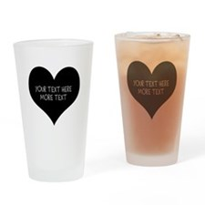 Black heart Drinking Glass