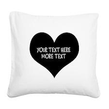 Black heart Square Canvas Pillow