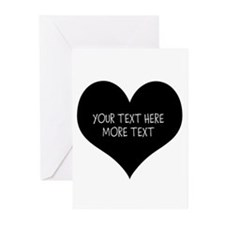Black Heart Valentines Day Greeting Cards