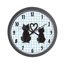 Blue Diamond Kitty Wall Clock
