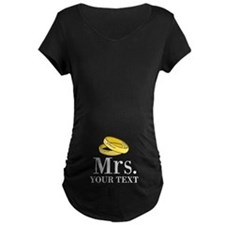 Mr and Mrs gold wedding rings Maternity T-Shirt