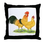 Buff Catalana Chickens Throw Pillow