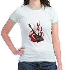 Flaming Guitar Jr. Ringer T-Shirt
