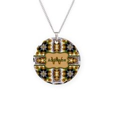 Metallic Gold and Green Cust Necklace