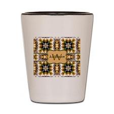 Metallic Gold and Green Custom Monogram Shot Glass