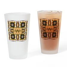 Metallic Gold and Green Custom Mono Drinking Glass