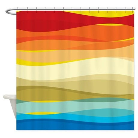 Abstract Colorful Waves Shower Curtain