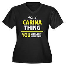 Cute Carina Women's Plus Size V-Neck Dark T-Shirt