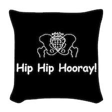 Hip Hip Hooray dark button Woven Throw Pillow