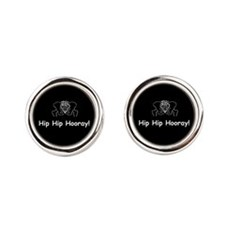 Hip Hip Hooray dark button Round Cufflinks