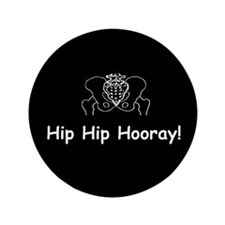 "Hip Hip Hooray dark button 3.5"" Button (100 pack)"