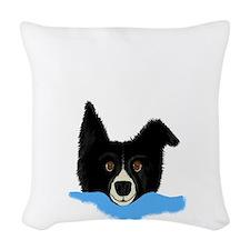 Border Collie Face V.png Woven Throw Pillow