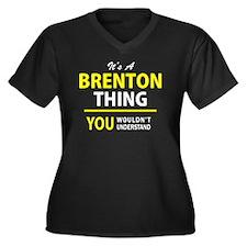 Cute Brenton Women's Plus Size V-Neck Dark T-Shirt