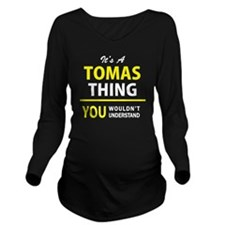 Cute Tomas Long Sleeve Maternity T-Shirt