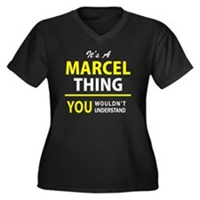 Unique Marcel Women's Plus Size V-Neck Dark T-Shirt