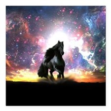 "Galactic Stallion Square Car Magnet 3"" x 3"""