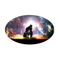 Galactic Stallion Oval Car Magnet