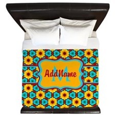 Teal and Yellow Sunflower Pattern Perso King Duvet