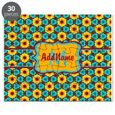 Teal and Yellow Sunflower Pattern Personali Puzzle