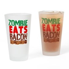 Zombie Eats Bacon Drinking Glass