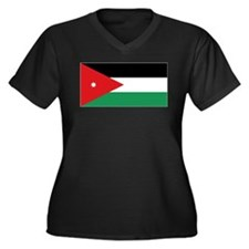 Flag of Jordan Women's Plus Size V-Neck Dark T-Shi