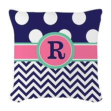 Navy Pink Dots Chevron Monogram Woven Throw Pillow