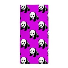 Cute Panda; Neon Purple, Black White Beach Towel