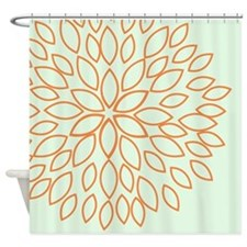 Orange Flower on Sage Green Shower Curtain