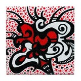 Red Flower Doodle Tile Coaster