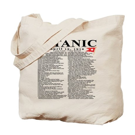 Titanic Ship Statistics Tote Bag