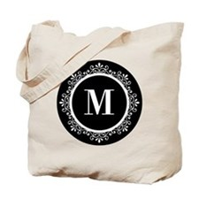 Black | White Scroll Monogram Tote Bag