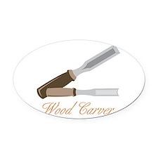 Wood Carver Oval Car Magnet