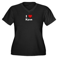 I Love Kyan Women's Plus Size V-Neck Dark T-Shirt