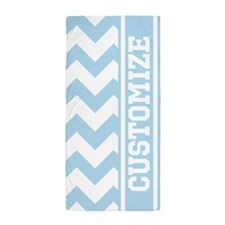 Personalized Baby Blue Chevron Stripe Beach Towel