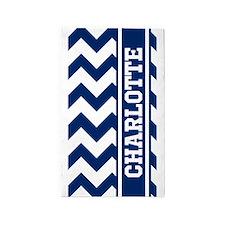 Personalized Blue Chevron Stripe 3'x5' Area Rug