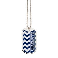 Personalized Blue Chevron Stripe Dog Tags